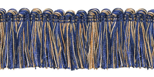 "5 Yards Gold Navy Blue 1.25/"" Brush Fringe Trim Admiralty"