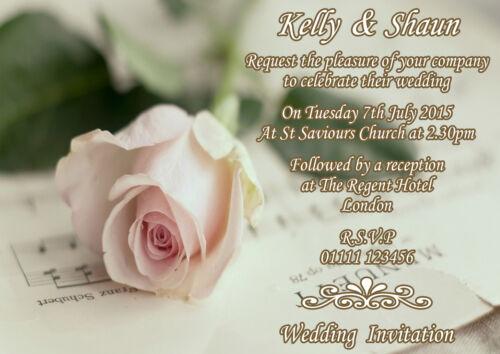 Wedding invitations personnalisé A6 Enveloppe Jour Soirée Rose Pâle Rose Fête