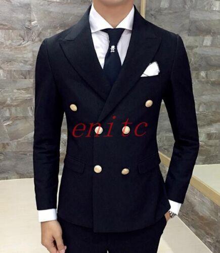 Slim Hombres traje vestido chaqueta Blazers botonadura de negocios doble Fit A55 de abrigos solapa Brfq6B