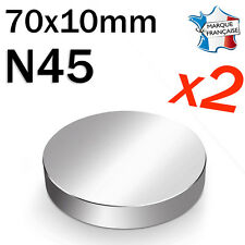 LOT DE 2 SUPER AIMANT MAGNET NEODYM DISQUE N45 - 70x10mm - 230Kg