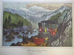 Vintage-Currier-amp-Ives-America-Color-Print-The-Route-To-California