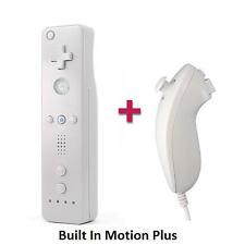 Motion Plus WHITE Remote Control + Nunchuck + Case+ Strap For Nintendo Wii Wii U