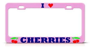 PINK CHERRIES Chrome Metal License Plate Frame CHERRY CUTE GIRLY Tag Border