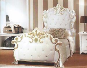 Letto Singolo In Legno Barocco Bianco E Foglia Oro In Ecopelle Bianca Cristalli Ebay