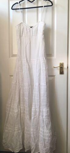 con strappi lungo L in Maxi maniche Taglia Gonna lunghe Mng vestito mango Bianco a cotone wSS7q8aP