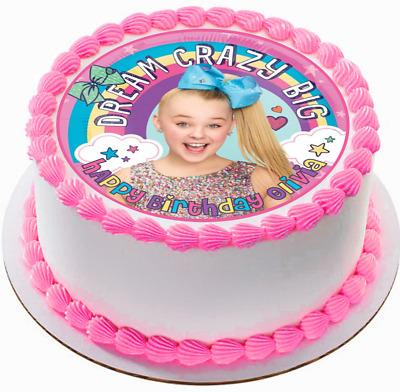JoJo Siwa Edible Wafer Circle Cake Topper Birthday Image Decoration 7.5in  Uncut