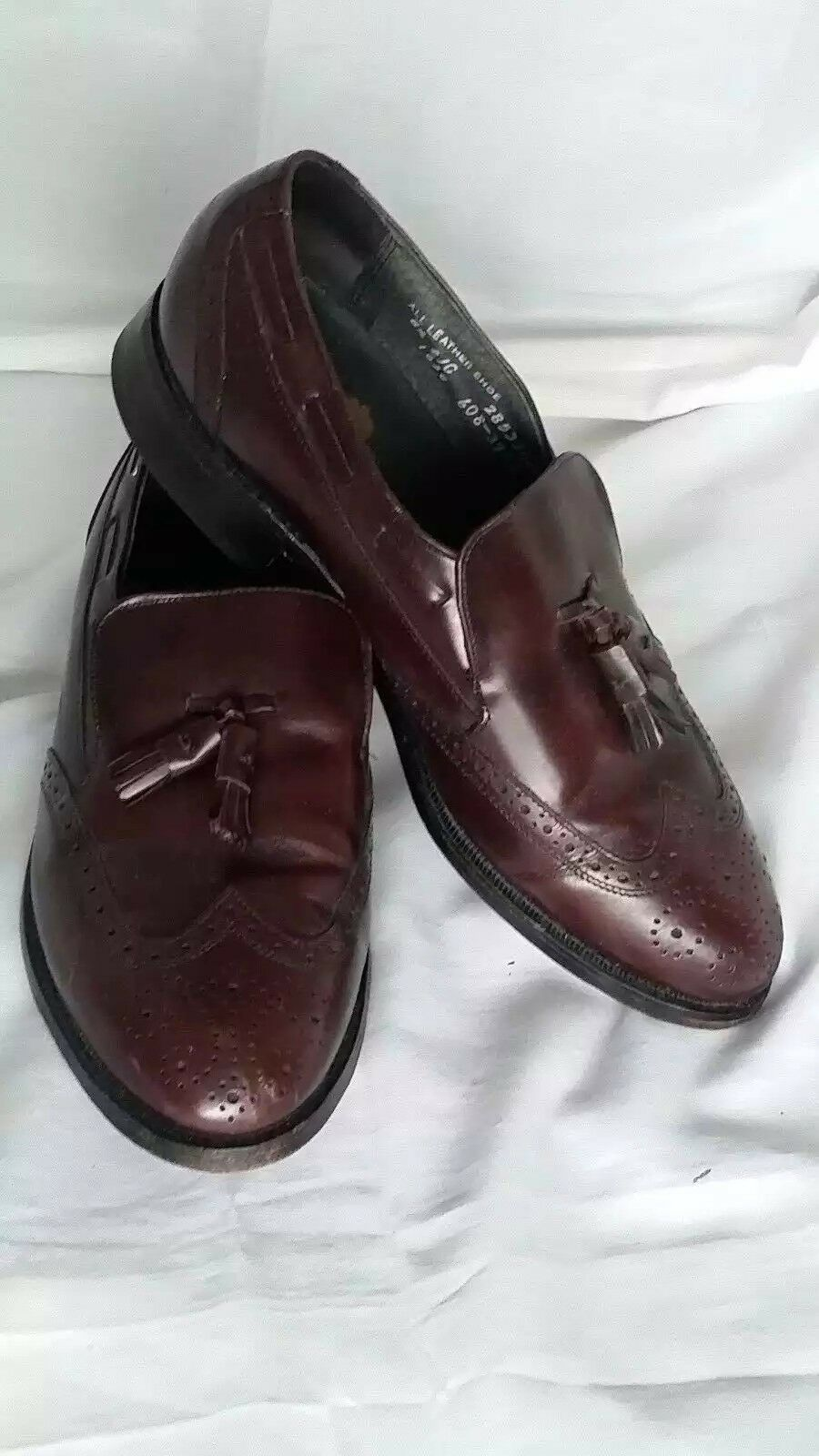 Stafford Mens Leather shoes Size 8.25 C Wing Tip Tassel Loafer Comfort Plus