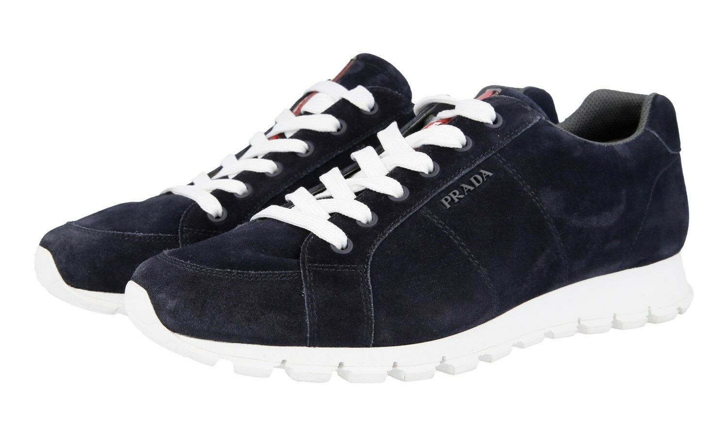 AUTH PRADA MATCHRACE SNEAKERS SHOES 4E3233 blueE SUEDE NEW 8,5 42,5 43
