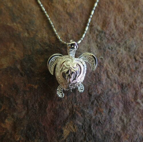 Hawaiian Jewelry 925 Sterling Silver Engraved Turtle Moving Pendant SP26501