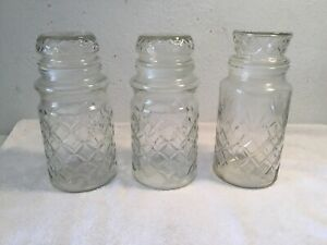 3-Vintage-Anchor-Hocking-1-1983-amp-2-1984-Planters-Mr-Peanut-Glass-Jar-w-Lids