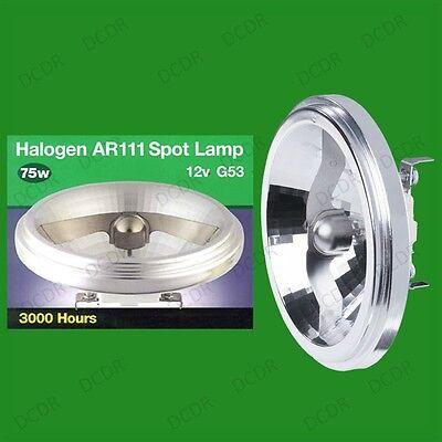 12x 75W AR111 G53 Aluminium Reflector 12V Light Bulbs 45 Deg Energy Saving Lamps