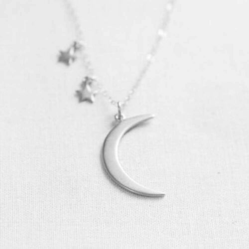 Women Gold//Silver Color Charm Delicate Gift Pendant Necklace Moon Crescent