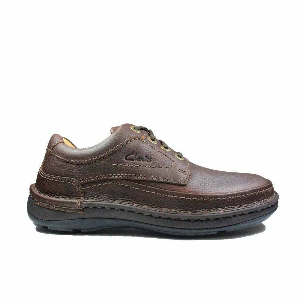 Clarks Nature Three Mahogany Leather Mens Lace Up Shoes