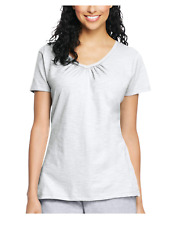 f5694b76852 Hanes 9253 Womens Slub Jersey Shirred V-neck Tees White Extra Large ...