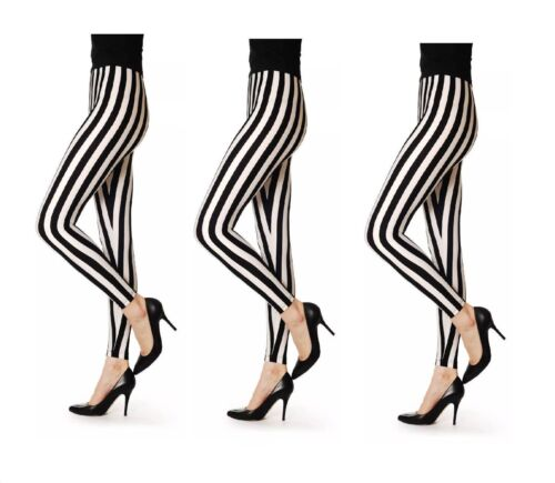 Ladies Black And Leggings New Stripped White 0nOkwP