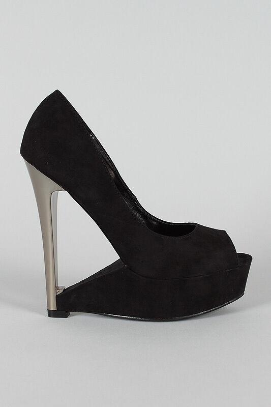 Liliana Gold Silber Faux Suede Open Open Open Peep Toe Cutout Platform High Heel Wedge 7.5 9e204e