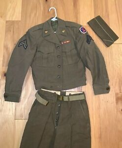 WWII-era-US-Army-10th-MOUNTAIN-Division-IKE-Field-Jacket-34R-Pants-Cap-UNIFORM