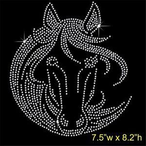 Horse-Face-Rhinestone-Diamante-Transfer-Hotfix-Iron-on-Motif-Applique-in-crystal