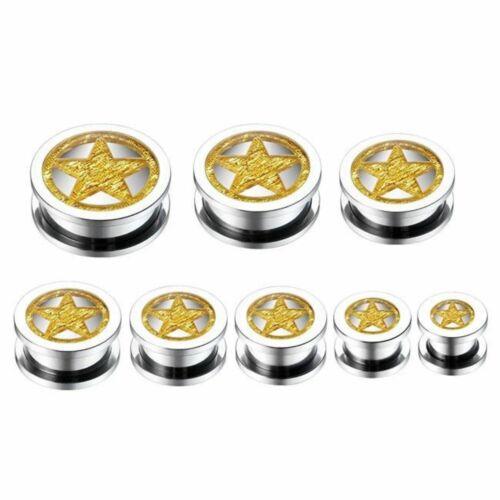 Ear Plug Tunnel Stretcher Gold Star Insert Flesh 316L Surgical Steel 12-24mm