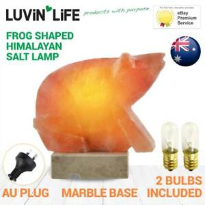 Frog-Shaped-Himalayan-Salt-Lamp-Marble-Base-FREE-SPARE-BULB