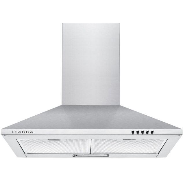 1185490-ciarra Cappa da cucina 60cm in acciaio inossidabile (argento)