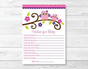 Owl Blossom Pink Purple Printable Baby Shower Wishes For Baby