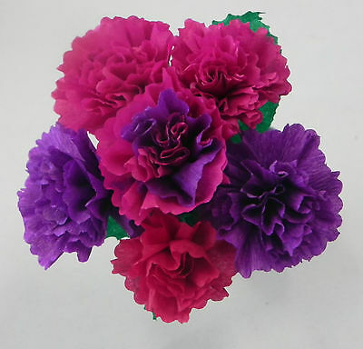Mexican Crepe Paper Flowers Bouquet Of 6 Crafts Party By Julia Fuschia Purple Ebay