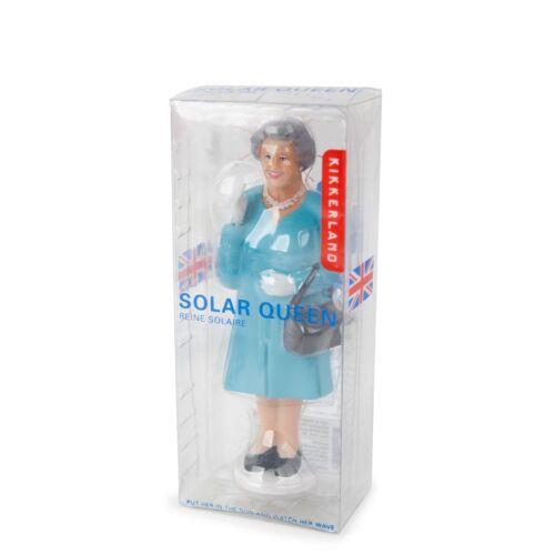 DIE QUEEN Solar-Queen Solarfigur mit winkender Hand blauer Mantel KIKKERLAND