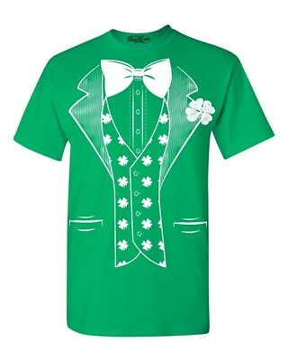 White Shamrock Tuxedo Costume T-shirt Saint Patrick/'s Day Irish Shirts