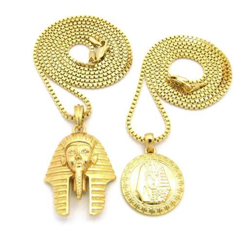 "KING TUT Pendant 24/"",30/"" BOX Chain Hip Hop 2 Necklace Set Gold PT Micro PHARAOH"