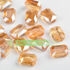 10pcs 14mm Rectangle Square Faceted Crystal Glass Loose Beads Amber Gold