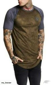 Mens-Designer-Sik-Silk-Siksilk-King-Short-Sleeve-T-Shirt-Gym-Suede-Khaki-Grey