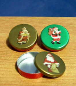 1/12 dolls house miniature 3 Father Christmas Gift Tins Xmas gifts Gift Tree LGW