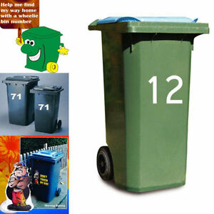 2 Large Wheelie Bin Number Self Adhesive Stick On Sticker White Numbers 3