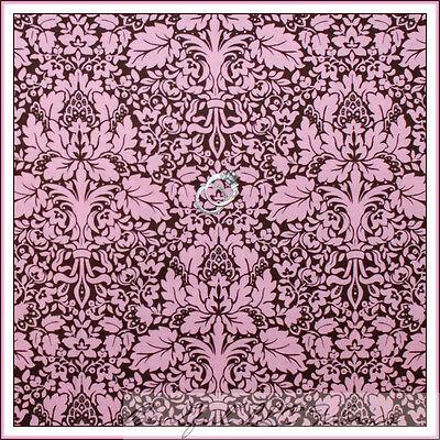 BonEful Fabric FQ Cotton Quilt Pink Brown Flower Damask VTG Shabby Chic Cottage