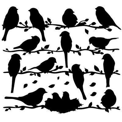 Sticker Decoration Planche Oiseaux Sur La Branche 20x20 Cm Et