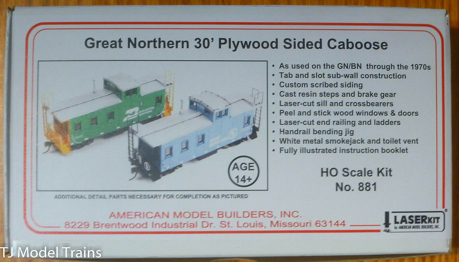 American Model Builders (NEW KIT) 30' Plywood Sided Caboose Kit GN