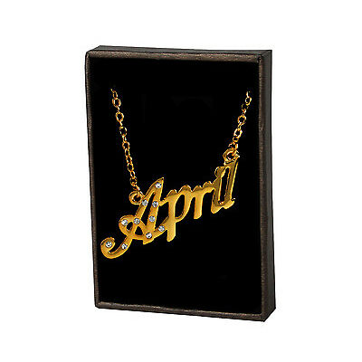 Name Necklace APRIL 18ct Gold Plated Personalised Wedding Christmas Gifts