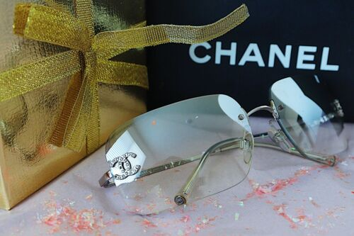 Clear Chanel Rimless Sunglasses Women Rhinestone L