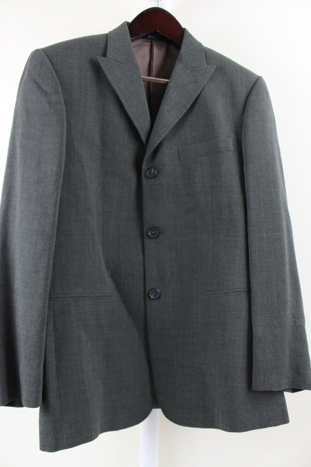 BIEM Rayon & Polyester Blend grau W/ Blau Highlights 3 Button Lined Blazer - 38R