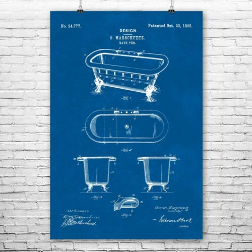 Vintage Bathtub Poster Print Interior Decorator Plumber Gifts Victorian Decor