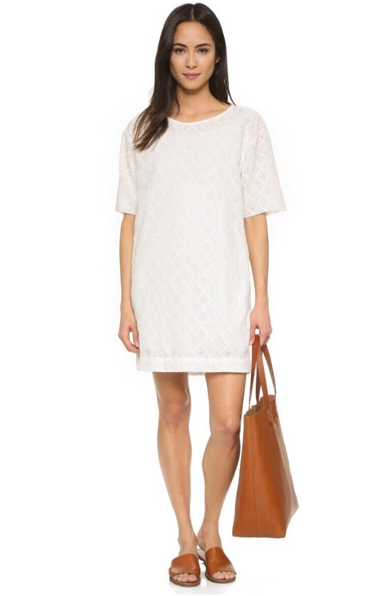 NWT  CURRENT ELLIOTT Sz1 S THE EYELET T-Shirt Embroidered DRESS-DIRTY WHITE