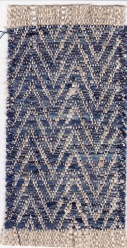 Dollhouse Miniature Woven Accent Rug Blue and Ecru Diagonal Weave Design