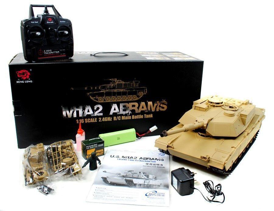 In magazzino vendita Heng  lunga noi M1A2 Abrams RADIOCOuomoDATO RC 2.4ghz FUMO SUONI TANK  consegna lampo