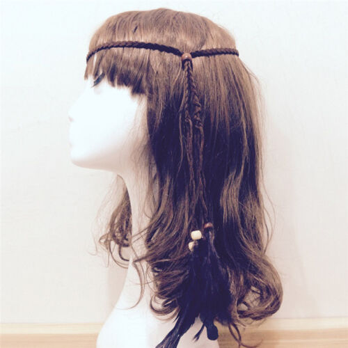 Hippie Indian Feather Headband Handmade Weave Feathers Hair Rope Headdress、Fad