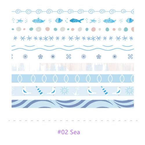 10PCS Colorful Washi Tape Solid Masking Paper Sticker DIY Label Stationery