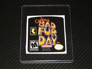 conkers bad fur day n64 cartridge replacement game label On sticker furs bad