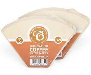 200 Size 3 / 102 Coffee Filter Paper Cones, Unbleached Brown Replacement