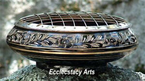 "Brass Censer Screen-Carved Incense Burner Resin, Cones, Smudging Pot-Large 6"" D"