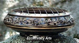 Brass-Censer-Screen-Carved-Incense-Burner-Resin-Cones-Smudging-Pot-Large-6-034-D